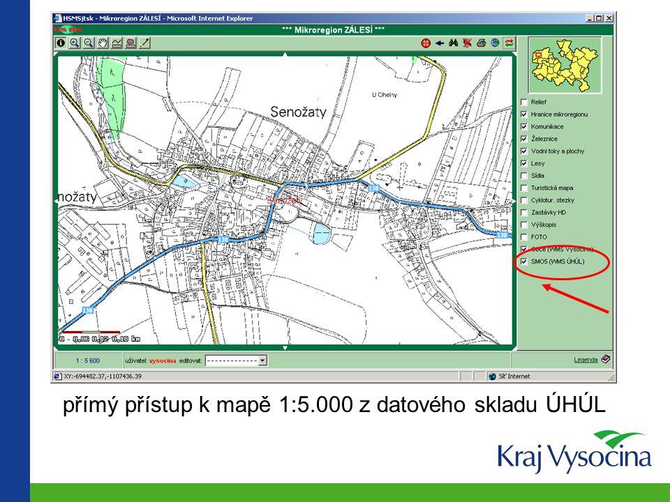 přímý přístup k mapě 1:5.000 z datového skladu ÚHÚL