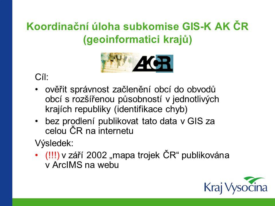 Koordinační úloha subkomise GIS-K AK ČR (geoinformatici krajů)