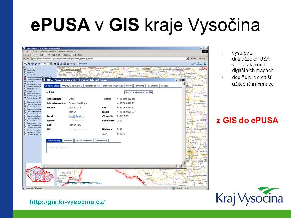 ePUSA v GIS kraje Vysočina