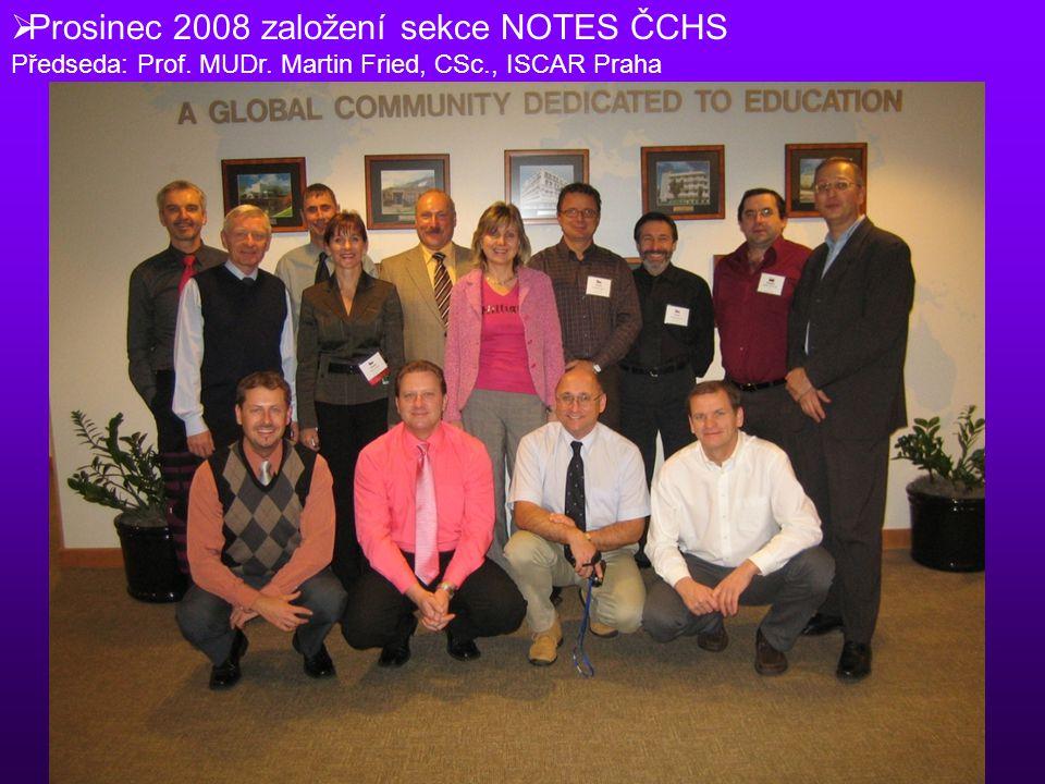 Prosinec 2008 založení sekce NOTES ČCHS