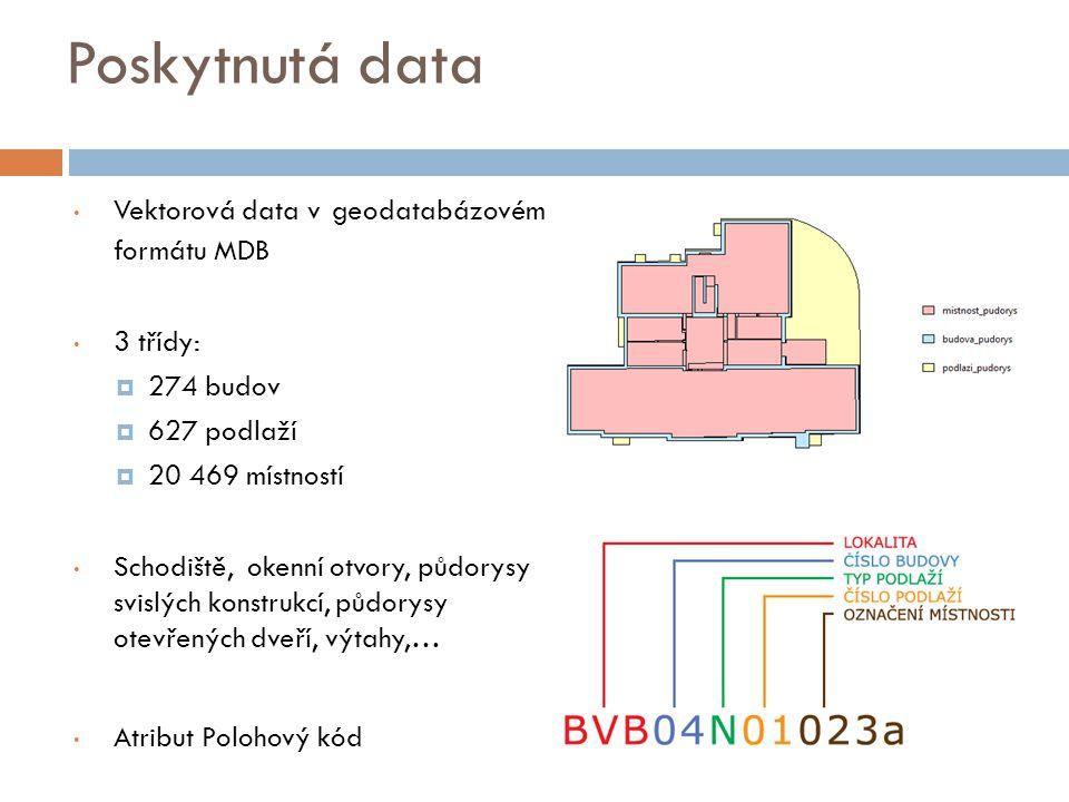 Poskytnutá data Vektorová data v geodatabázovém formátu MDB 3 třídy: