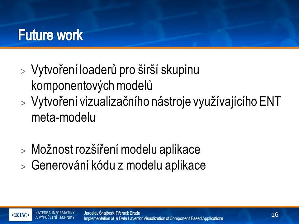 Future work Vytvoření loaderů pro širší skupinu komponentových modelů