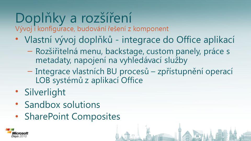 Doplňky a rozšíření Vývoj i konfigurace, budování řešení z komponent. Vlastní vývoj doplňků - integrace do Office aplikací.