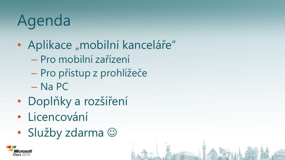"""Agenda Aplikace """"mobilní kanceláře Doplňky a rozšíření Licencování"""
