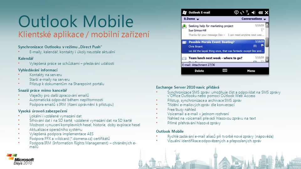 Outlook Mobile Klientské aplikace / mobilní zařízení
