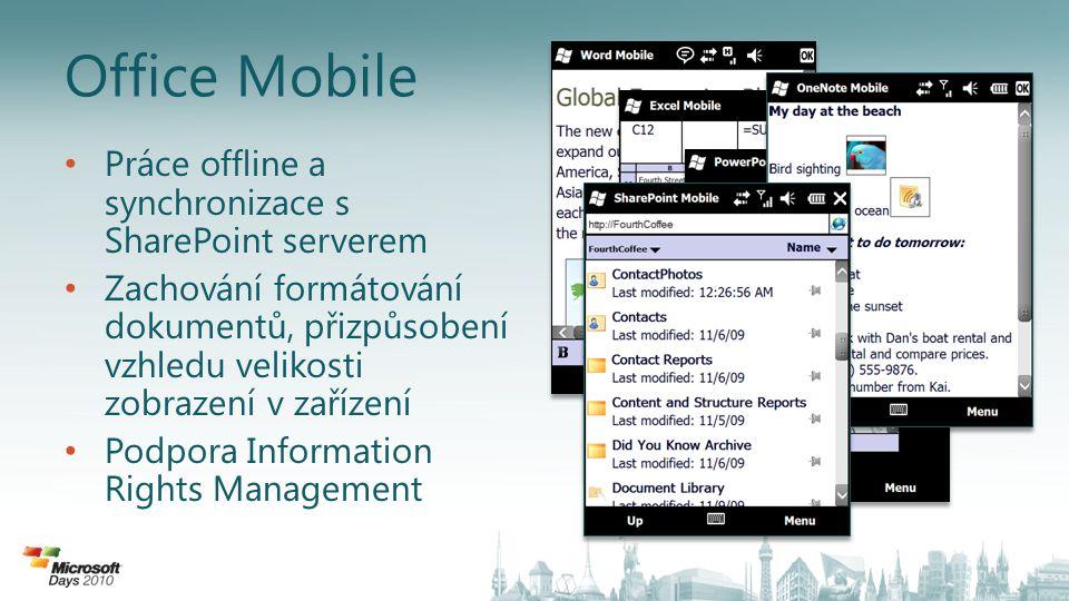 Office Mobile Práce offline a synchronizace s SharePoint serverem