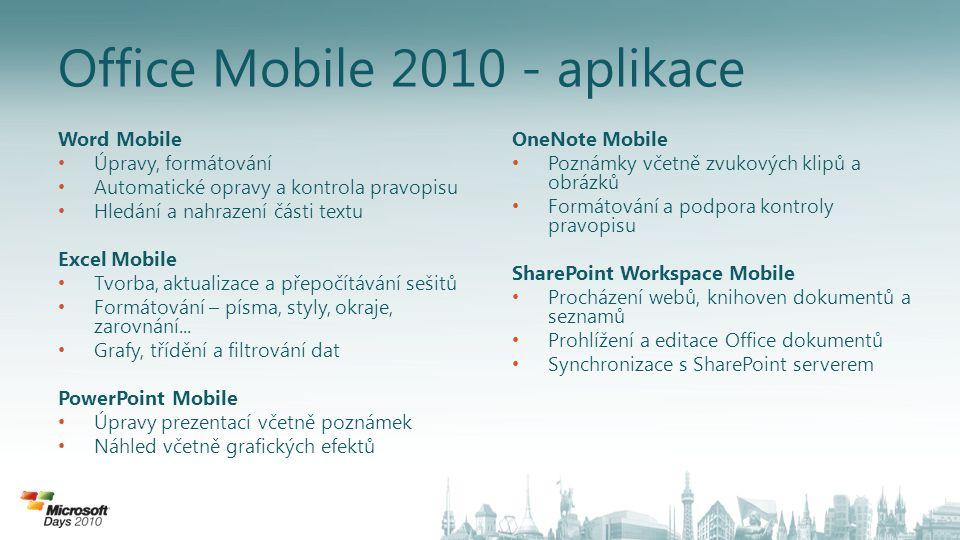 Office Mobile 2010 - aplikace
