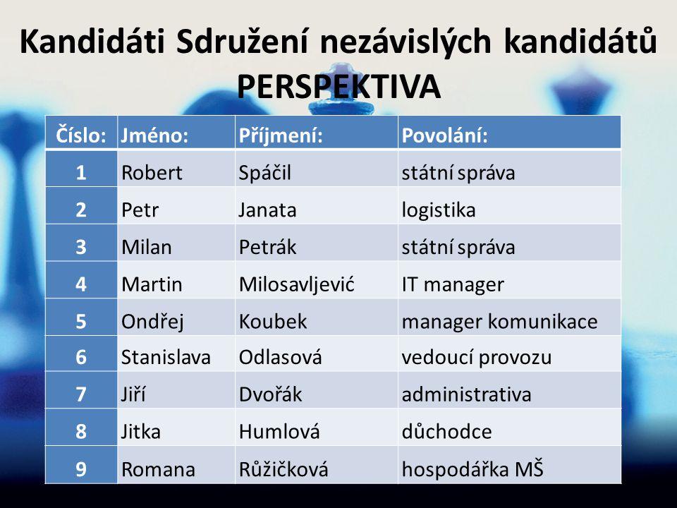 Kandidáti Sdružení nezávislých kandidátů PERSPEKTIVA