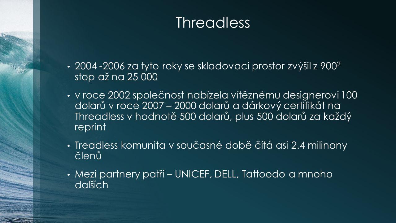 Threadless 2004 -2006 za tyto roky se skladovací prostor zvýšil z 9002 stop až na 25 000.