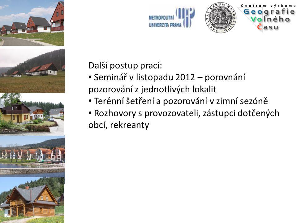 Další postup prací: Seminář v listopadu 2012 – porovnání pozorování z jednotlivých lokalit. Terénní šetření a pozorování v zimní sezóně.