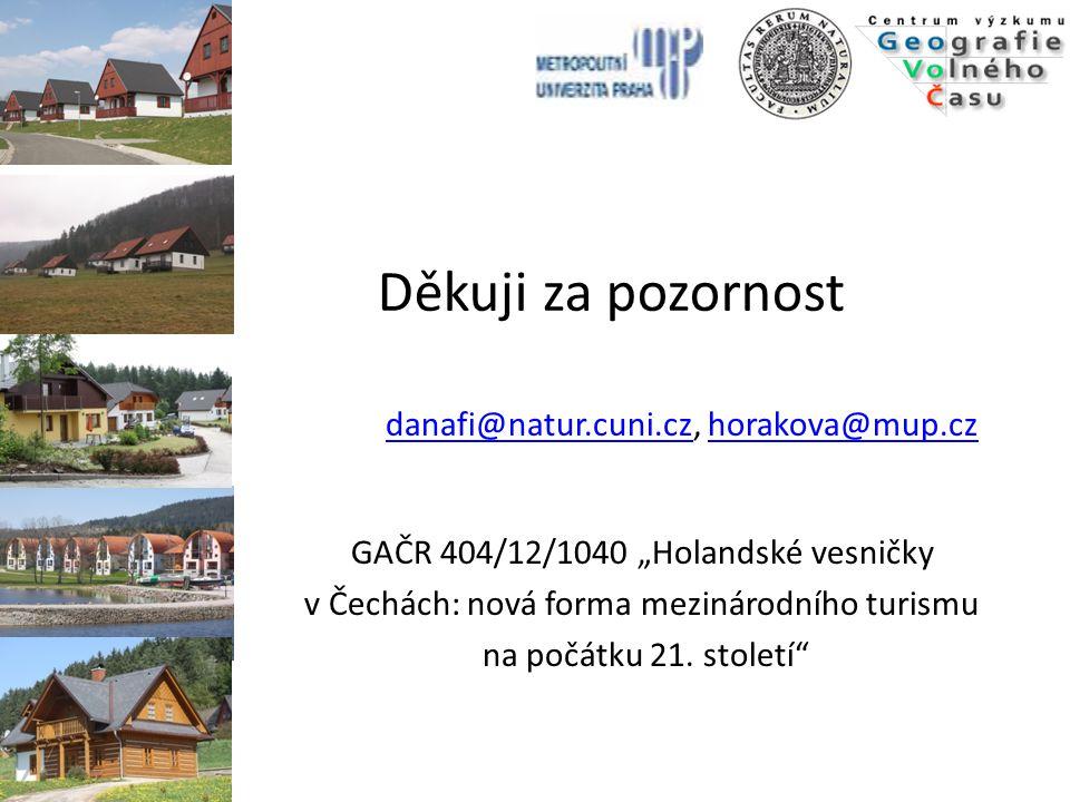 """Děkuji za pozornost GAČR 404/12/1040 """"Holandské vesničky"""