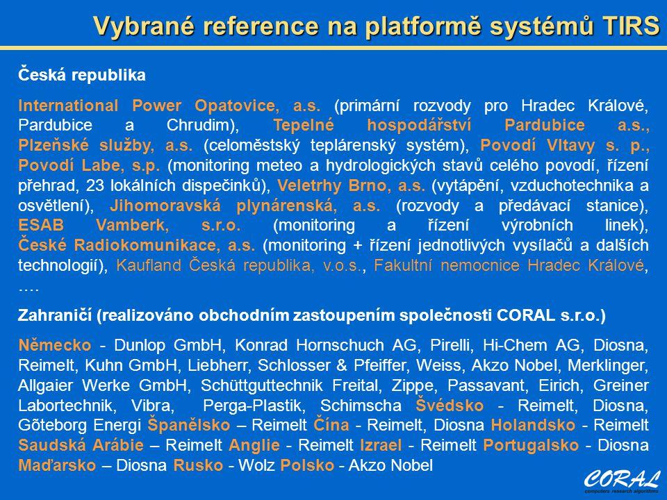 Vybrané reference na platformě systémů TIRS