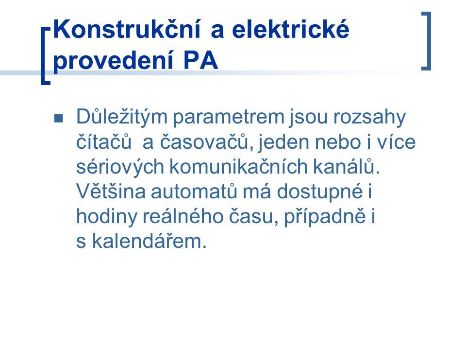 Konstrukční a elektrické provedení PA