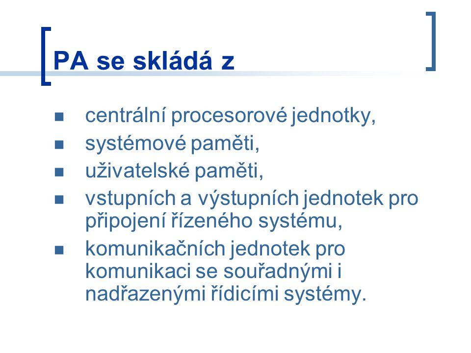 PA se skládá z centrální procesorové jednotky, systémové paměti,