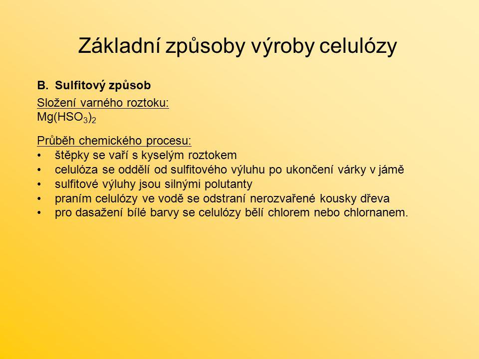 Základní způsoby výroby celulózy