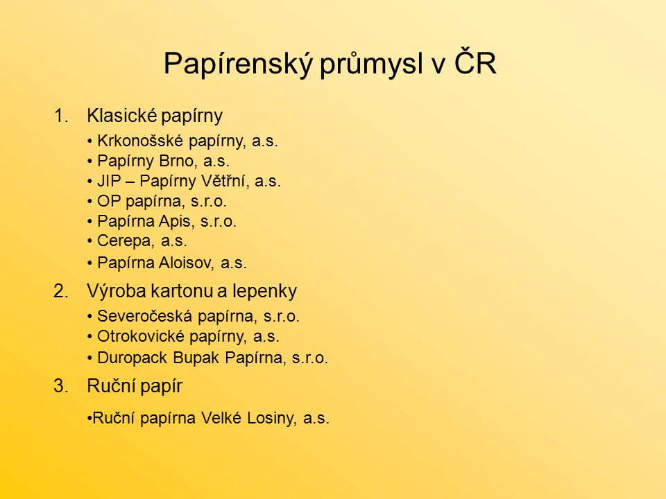 Papírenský průmysl v ČR