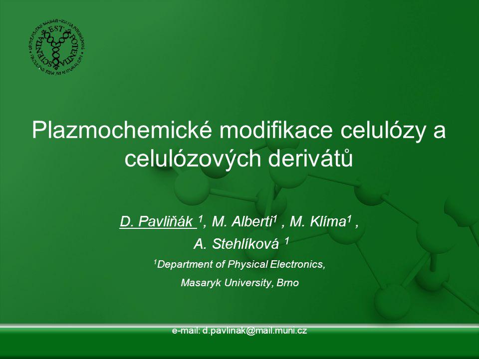 Plazmochemické modifikace celulózy a celulózových derivátů