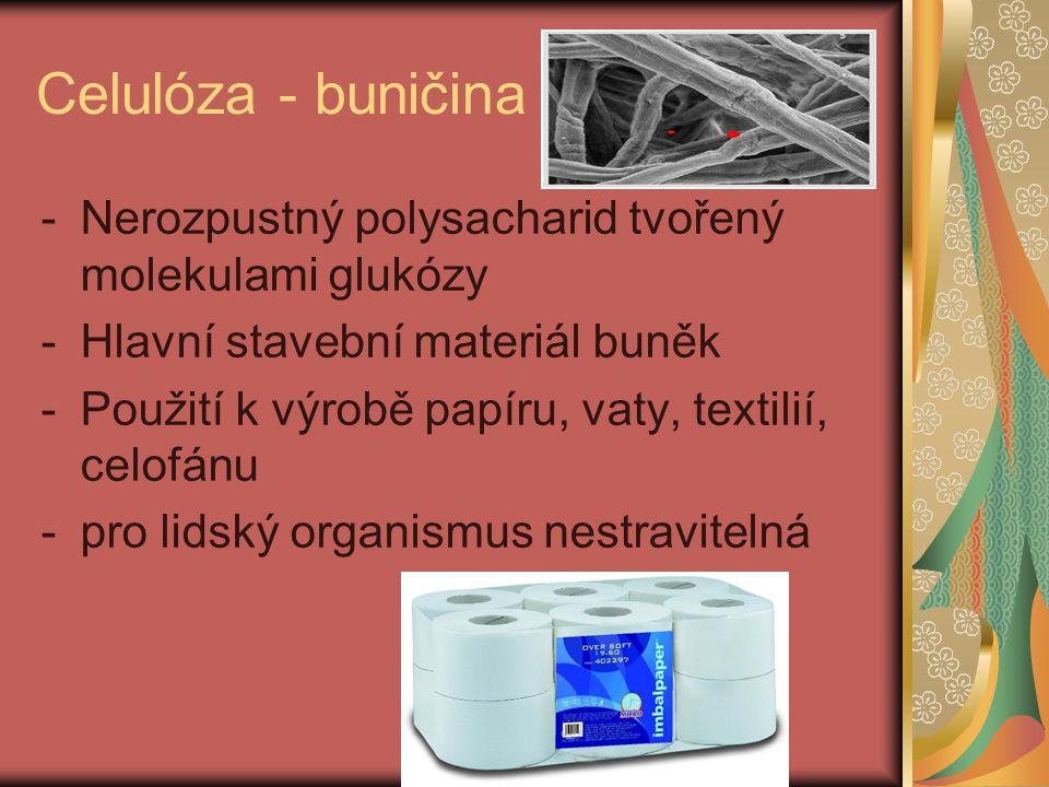Celulóza - buničina Nerozpustný polysacharid tvořený molekulami glukózy. Hlavní stavební materiál buněk.