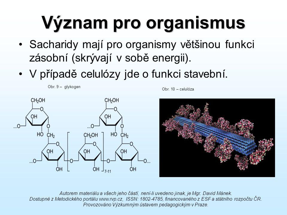 Význam pro organismus Sacharidy mají pro organismy většinou funkci zásobní (skrývají v sobě energii).