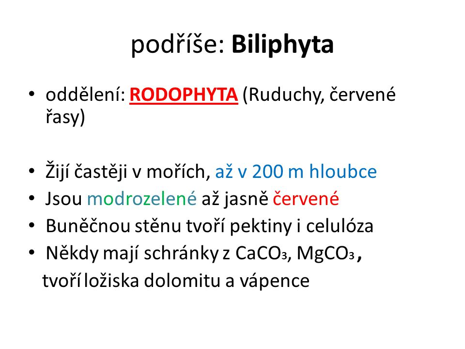 podříše: Biliphyta oddělení: RODOPHYTA (Ruduchy, červené řasy)