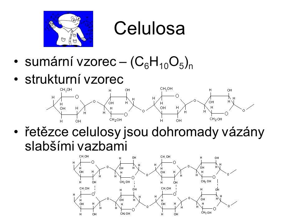 Celulosa sumární vzorec – (C6H10O5)n strukturní vzorec
