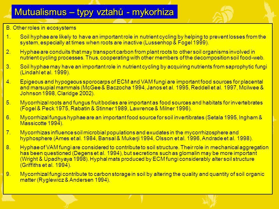 Mutualismus – typy vztahů - mykorhiza