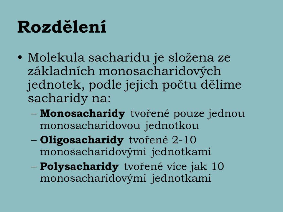 Rozdělení Molekula sacharidu je složena ze základních monosacharidových jednotek, podle jejich počtu dělíme sacharidy na: