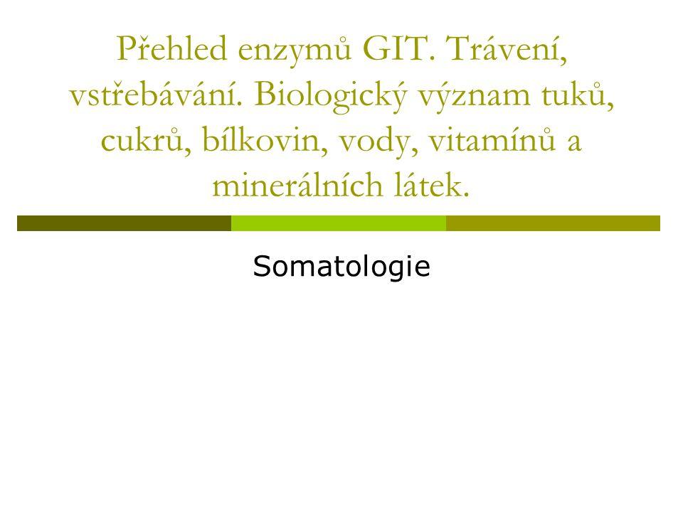 Přehled enzymů GIT. Trávení, vstřebávání