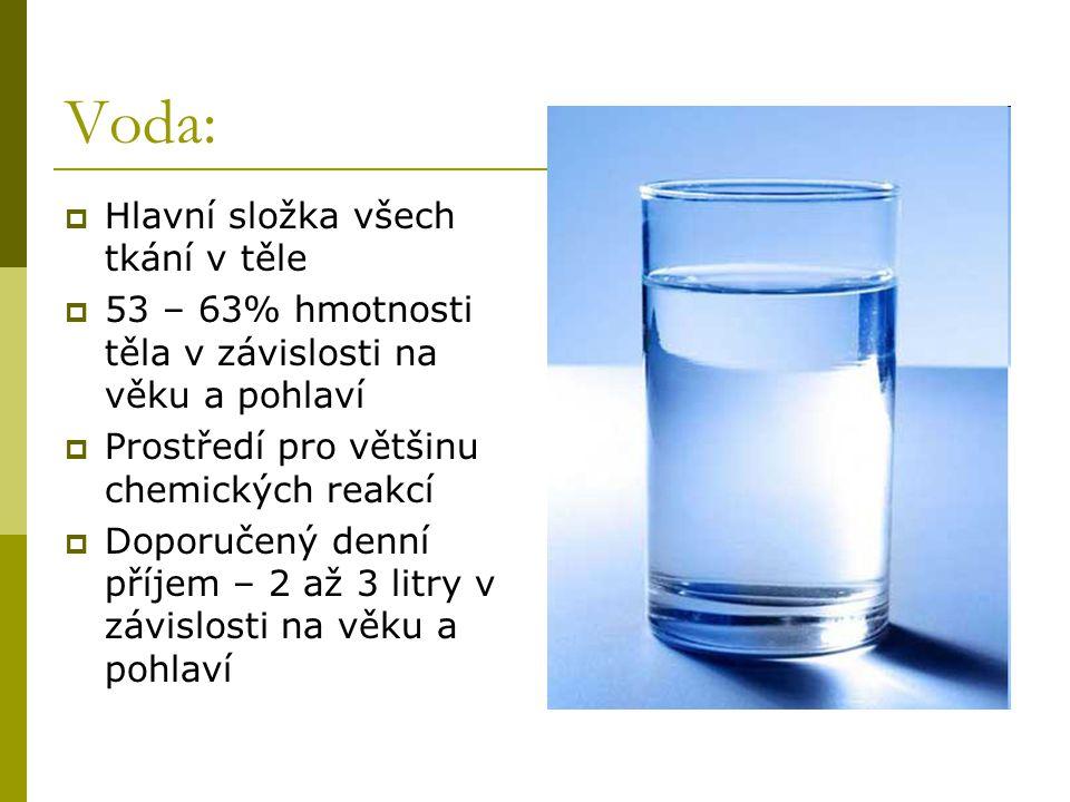 Voda: Hlavní složka všech tkání v těle