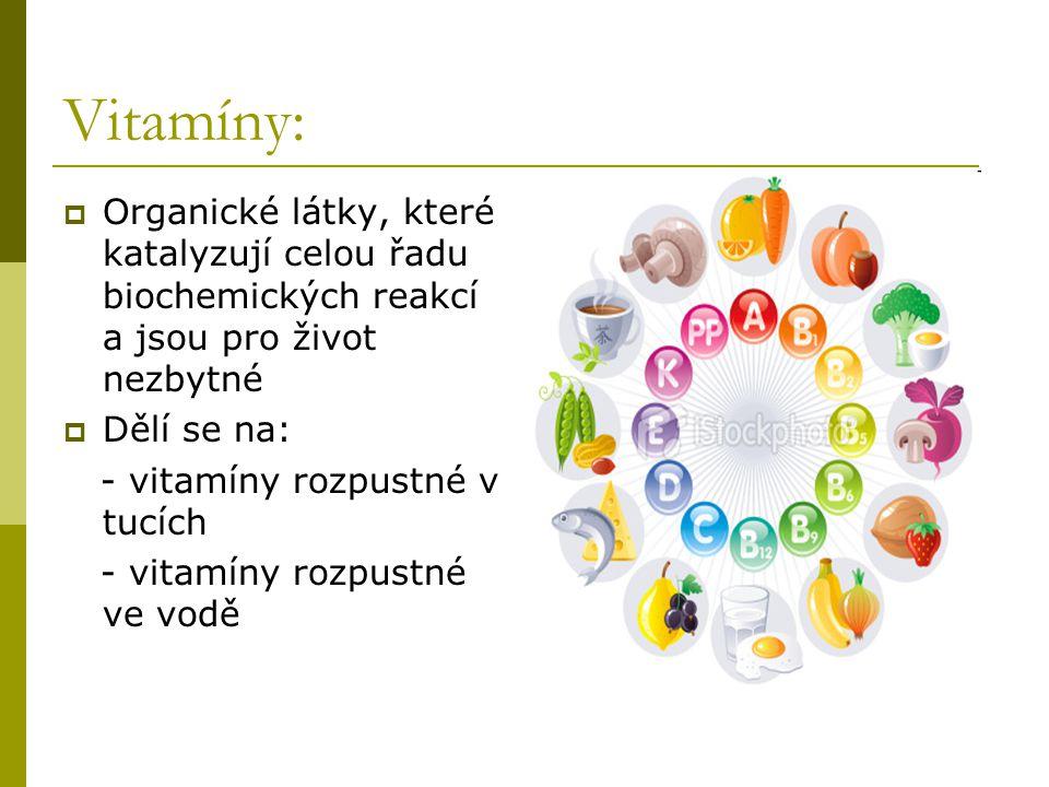 Vitamíny: Organické látky, které katalyzují celou řadu biochemických reakcí a jsou pro život nezbytné.