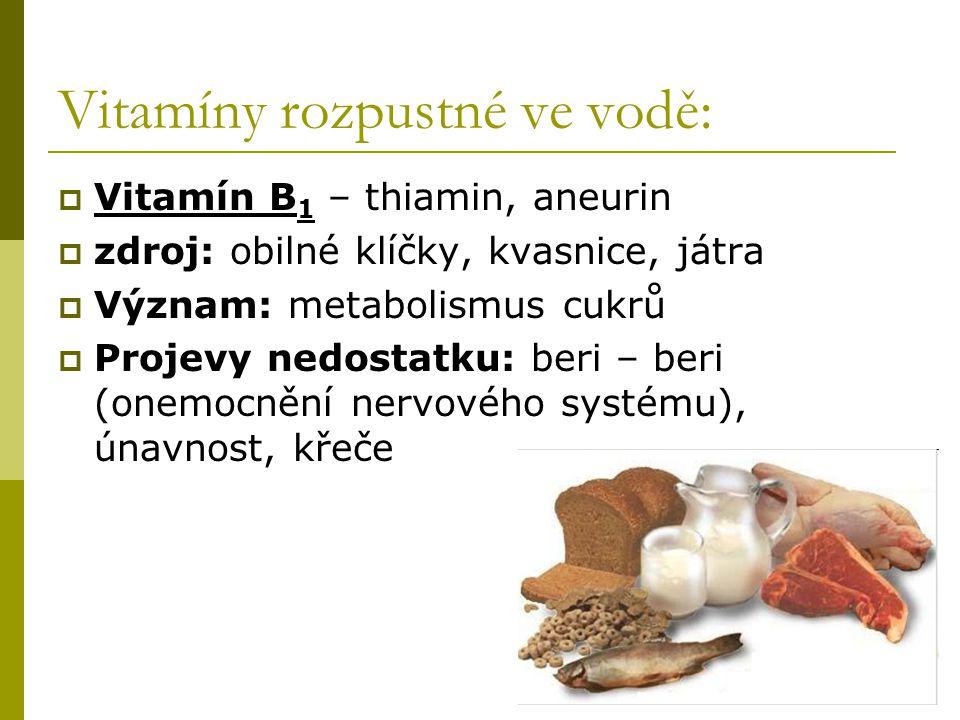 Vitamíny rozpustné ve vodě: