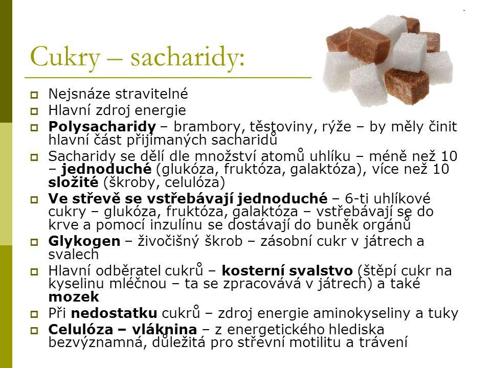 Cukry – sacharidy: Nejsnáze stravitelné Hlavní zdroj energie