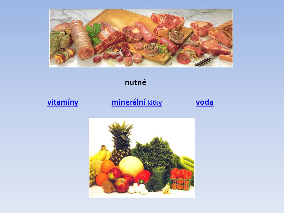 nutné vitamíny minerální látky voda
