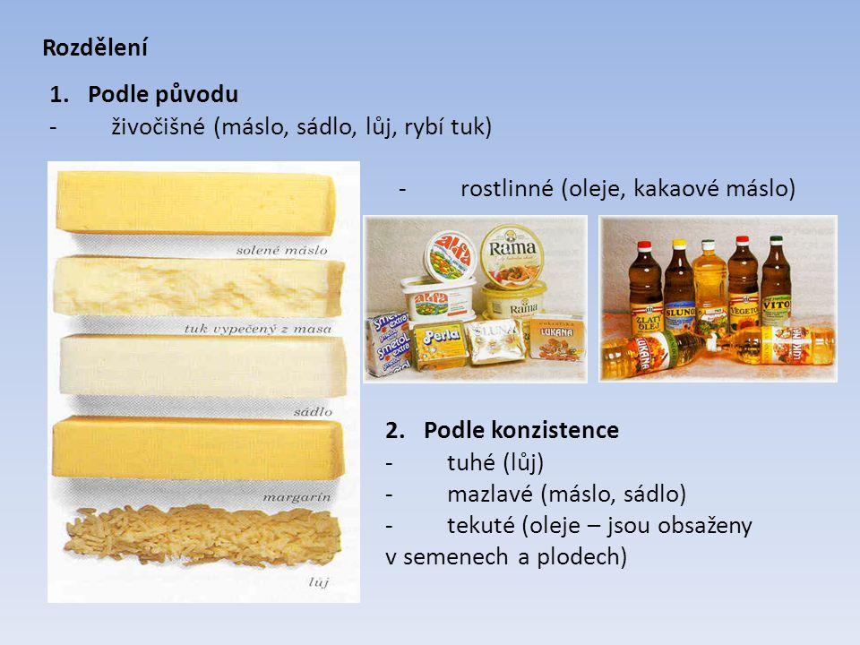 Rozdělení 1. Podle původu. - živočišné (máslo, sádlo, lůj, rybí tuk) - rostlinné (oleje, kakaové máslo)