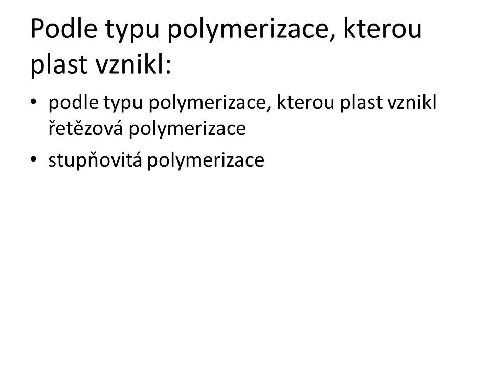 Podle typu polymerizace, kterou plast vznikl: