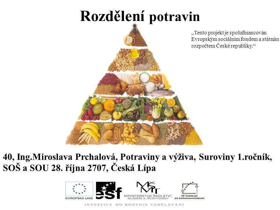 """Rozdělení potravin """"Tento projekt je spolufinancován Evropským sociálním fondem a státním rozpočtem České republiky."""