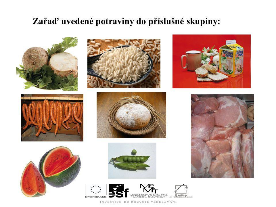 Zařaď uvedené potraviny do příslušné skupiny: