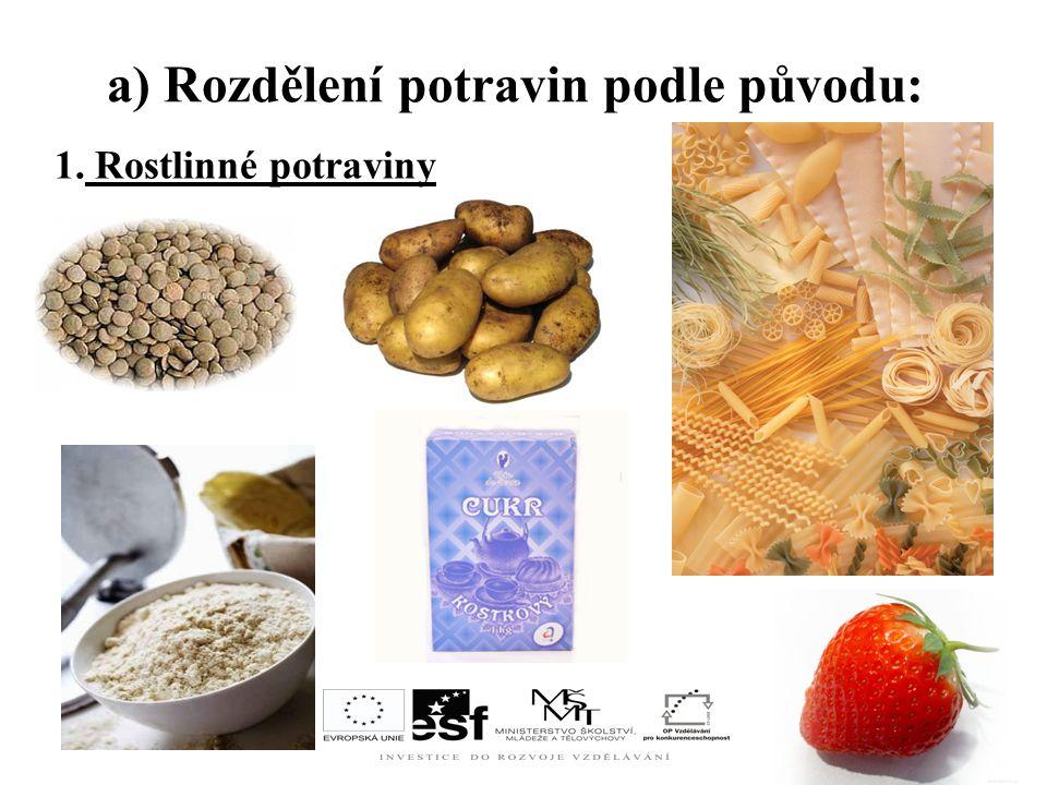 a) Rozdělení potravin podle původu: