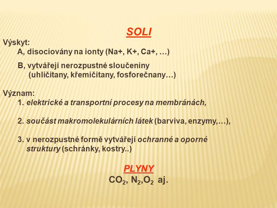 SOLI PLYNY CO2, N2,O2 aj. Výskyt: