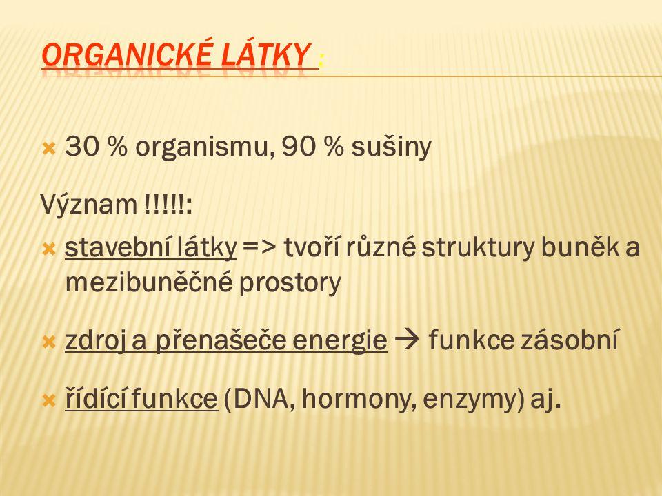 ORGANICKÉ LÁTKY : 30 % organismu, 90 % sušiny Význam !!!!!:
