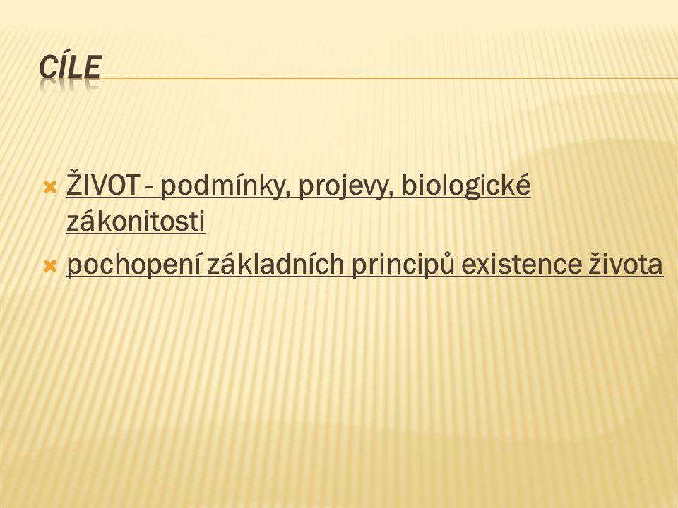 cíle ŽIVOT - podmínky, projevy, biologické zákonitosti