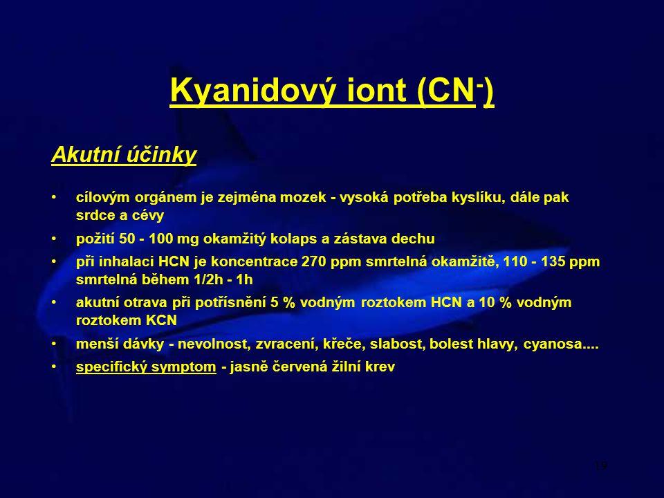 Kyanidový iont (CN-) Akutní účinky