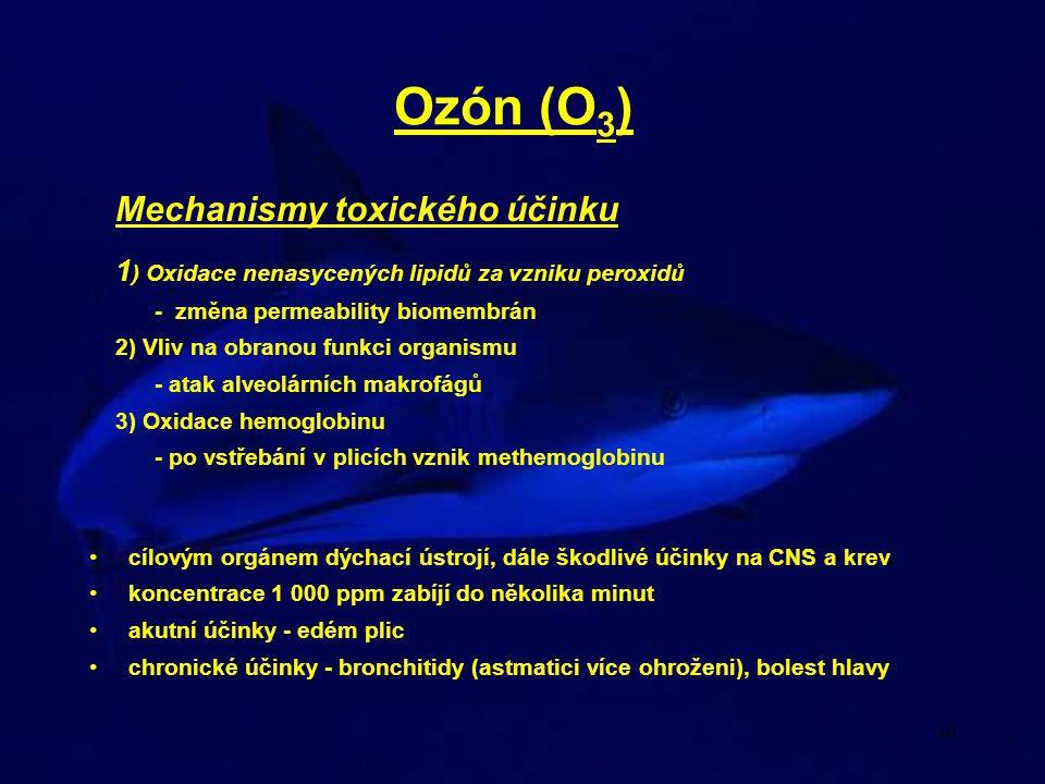 Ozón (O3) Mechanismy toxického účinku