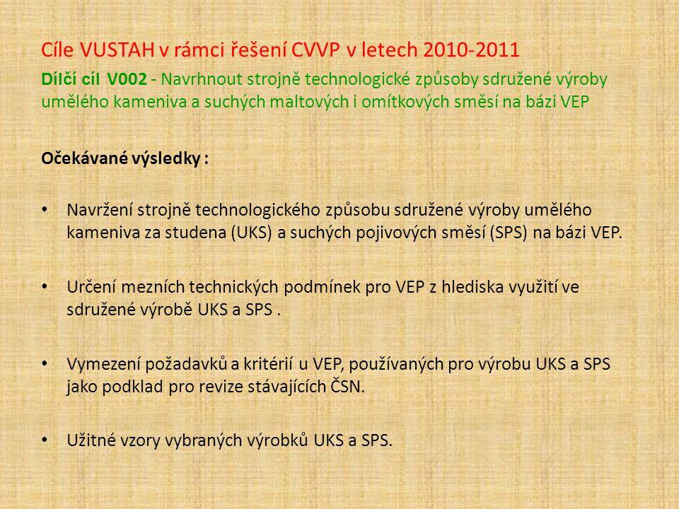 Cíle VUSTAH v rámci řešení CVVP v letech 2010-2011 Dílčí cíl V002 - Navrhnout strojně technologické způsoby sdružené výroby umělého kameniva a suchých maltových i omítkových směsí na bázi VEP