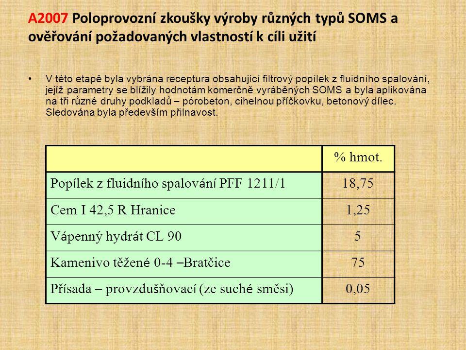 A2007 Poloprovozní zkoušky výroby různých typů SOMS a ověřování požadovaných vlastností k cíli užití