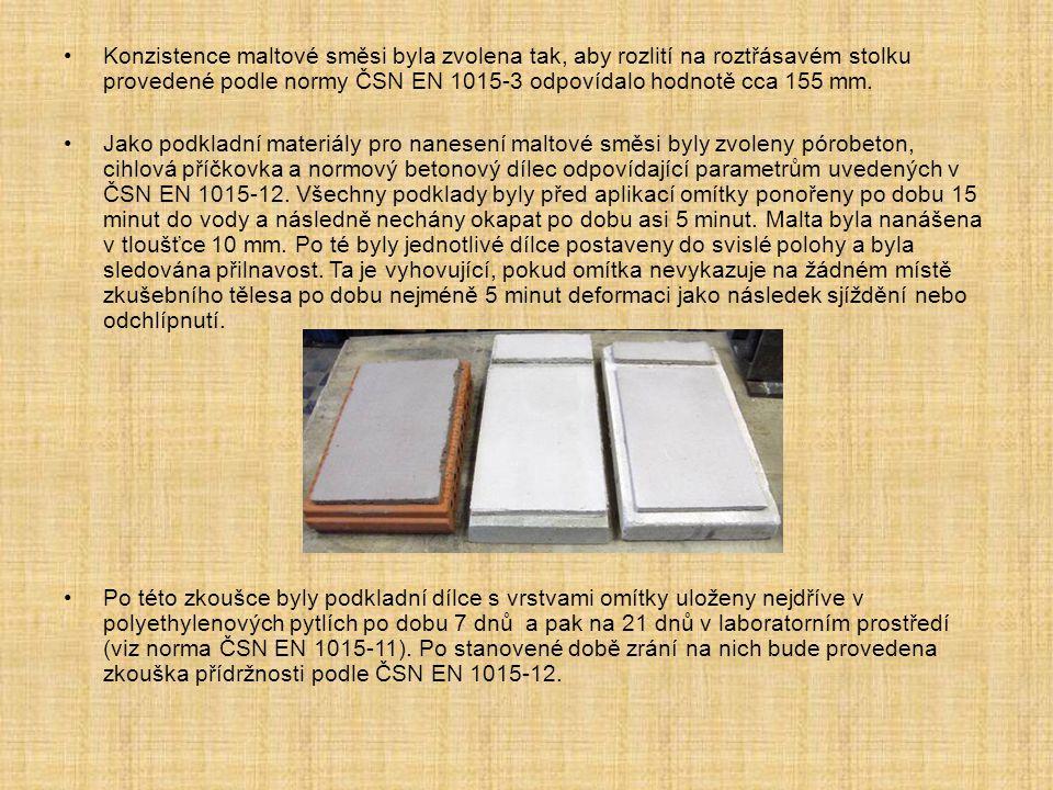 Konzistence maltové směsi byla zvolena tak, aby rozlití na roztřásavém stolku provedené podle normy ČSN EN 1015-3 odpovídalo hodnotě cca 155 mm.