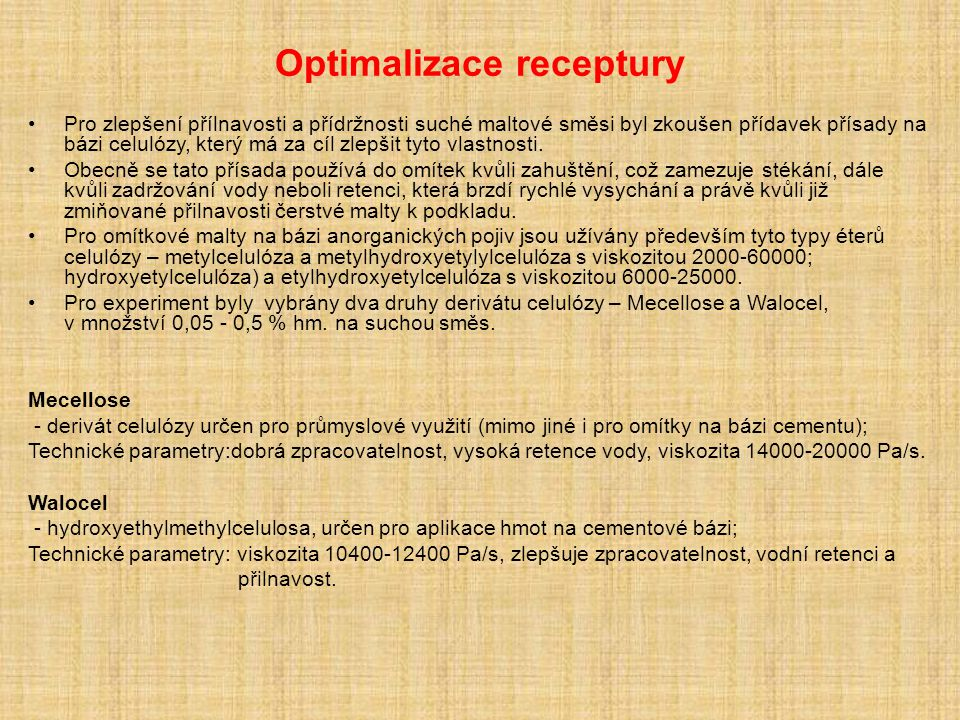 Optimalizace receptury