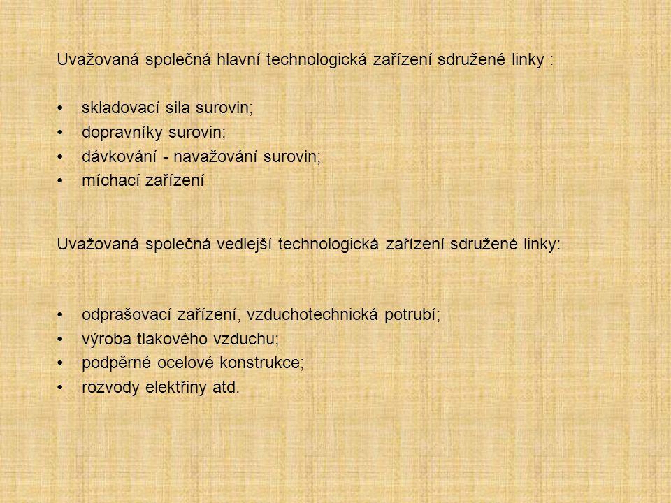 Uvažovaná společná hlavní technologická zařízení sdružené linky :