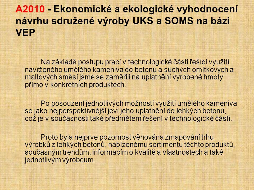 A2010 - Ekonomické a ekologické vyhodnocení návrhu sdružené výroby UKS a SOMS na bázi VEP