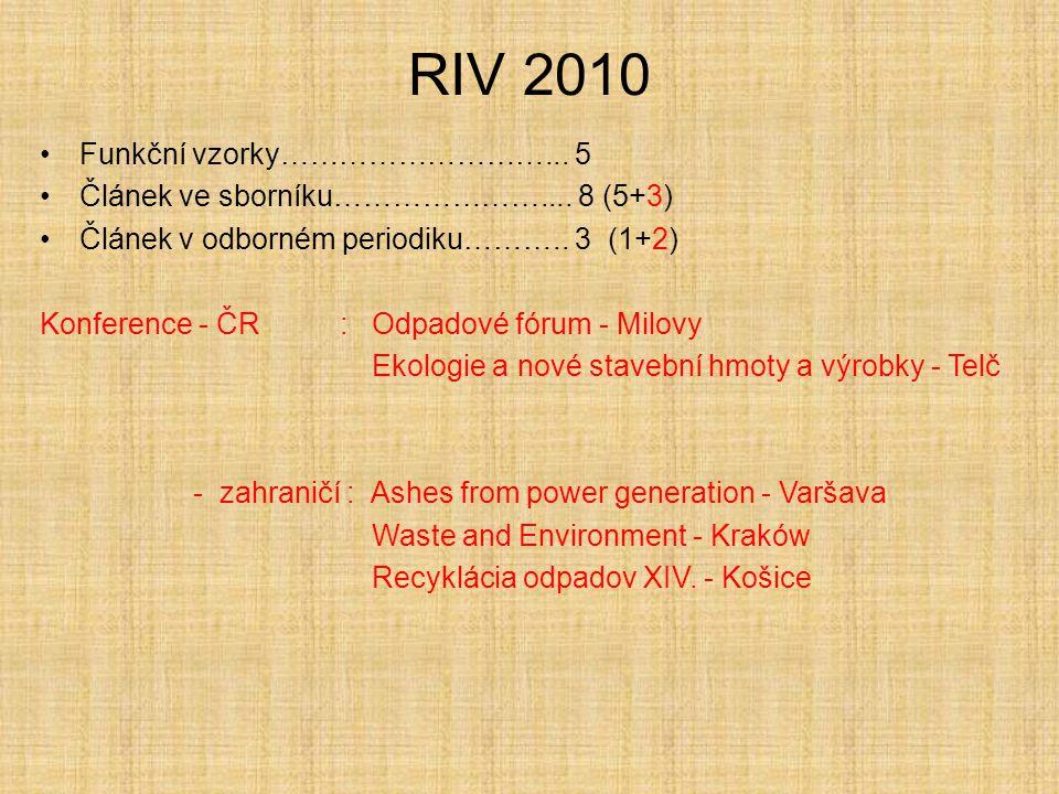 RIV 2010 Funkční vzorky………………………... 5